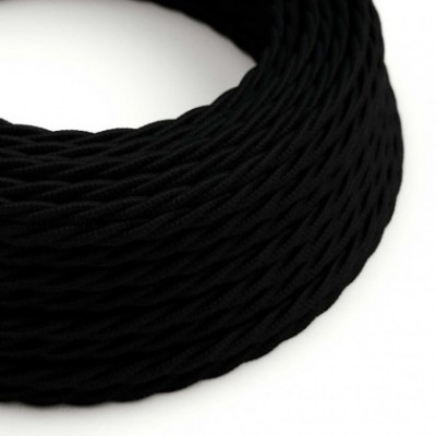 Twisted Electric Cable covered by Cotton solid color fabric TC04 Black
