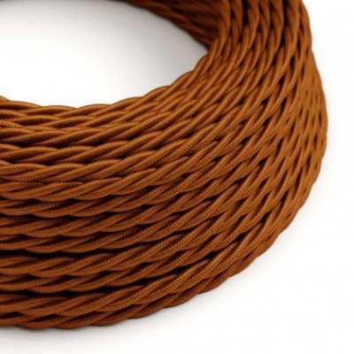 Twisted Electric Cable covered by solid silk effect fabric TM22 Whiskey
