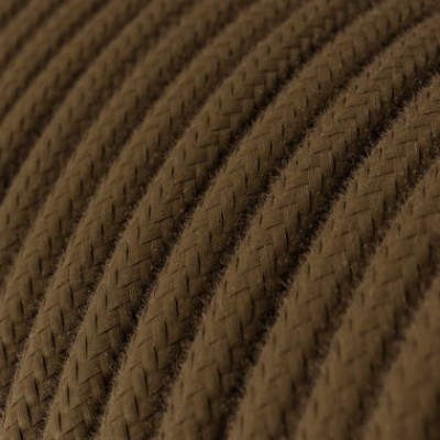 Round Electric Cable covered by Cotton solid color fabric RC13 Brown