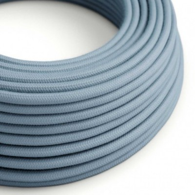 Round Electric Cable covered by Cotton solid color fabric RC53 Ocean