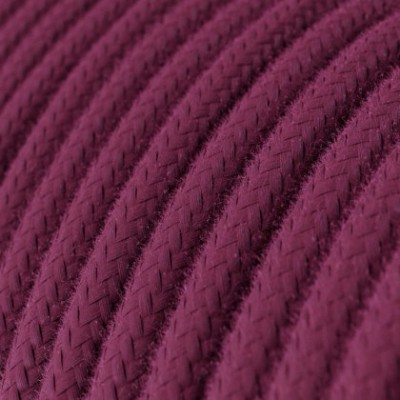 Round Electric Cable covered by Cotton solid color fabric RC32 Burgundy