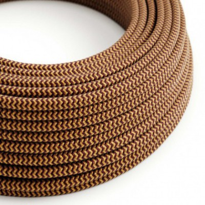 Round Electric Cable covered in Rayon - ZigZag Gold and Burgundy RZ23