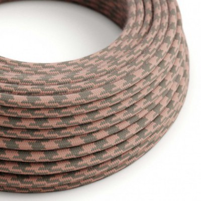 Round Electric Cable covered in Cotton - Bicoloured Ancient Pink and Grey RP26