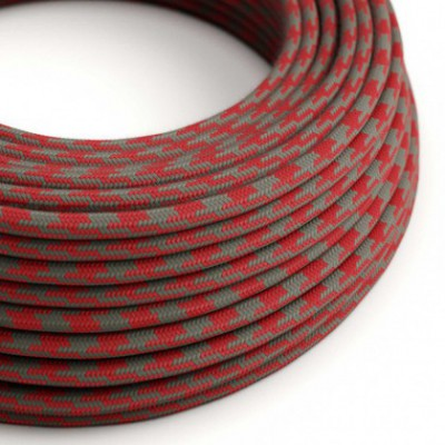 Round Electric Cable covered in Cotton - Bicoloured Fire Red and Grey RP28