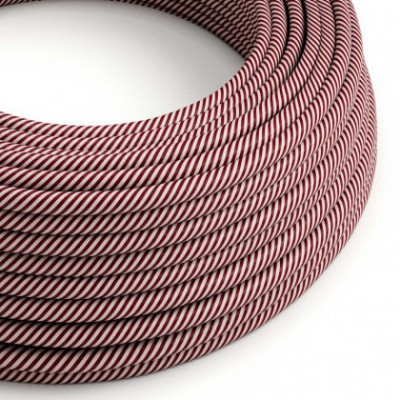 Round Electric Vertigo HD Cable covered by Pink and Maroon fabric ERM47