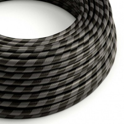 Round Electric Vertigo HD Cable covered by Graphite and Black Wide Stripes fabric ERM54