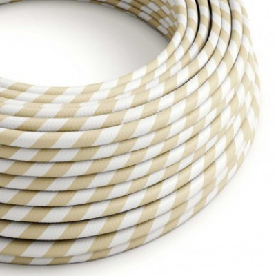 Round Electric Vertigo HD Cable covered by Cream and Nut Wide Stripes fabric ERM56