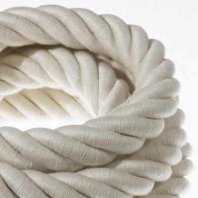 3XL electrical cord, electrical cable 3x0,75. Raw cotton fabric covering. Diameter 30mm.