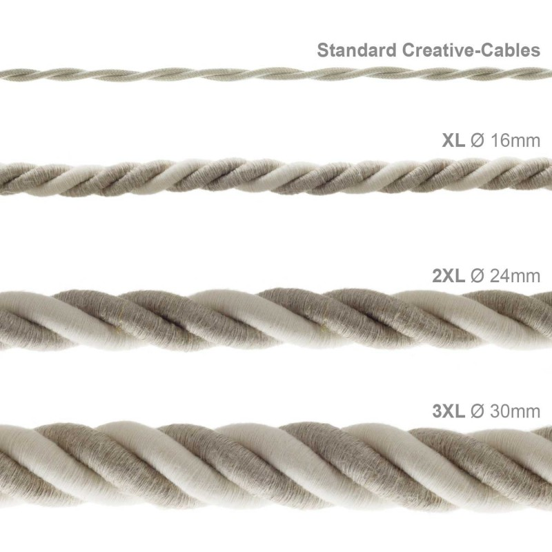 XL electrical cord, electrical cable 3x0,75. Natural linen and raw cotton fabric covering. Diameter 16mm.