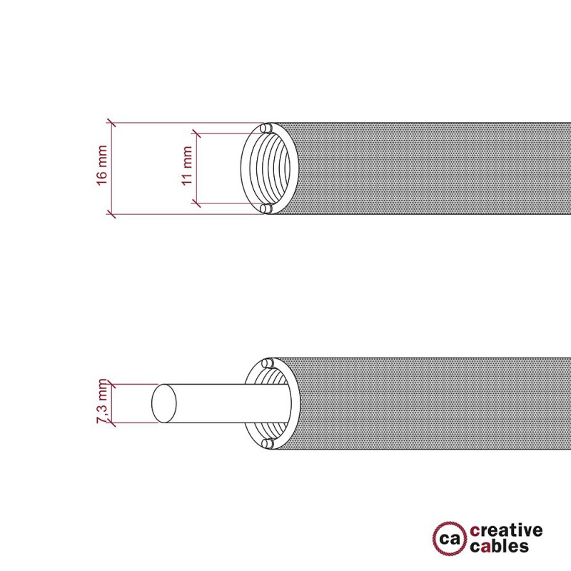 Creative-Tube flexible conduit, Rayon Red RM09 fabric covering, diameter 16 mm