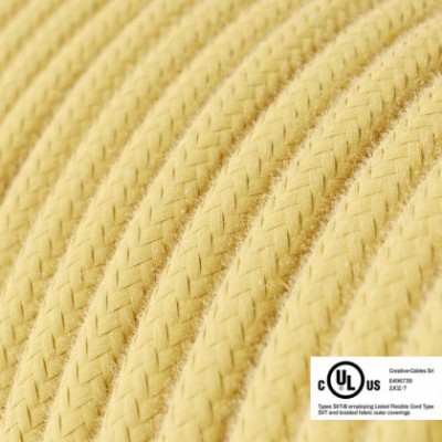 Round Electric Cable 150 ft (45,72 m) coil RC10 Pale Yellow Cotton - UL listed