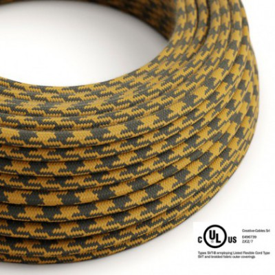 Round Electric Cable 150 ft (45,72 m) coil RP27 Bicoloured Golden Honey and Anthracite Cotton - UL listed