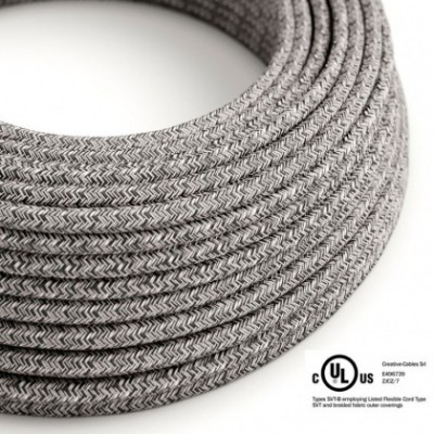 Round Electric Cable 150 ft (45,72 m) coil RS81 Glittering Black Onyx Cotton and Natural Linen - UL listed