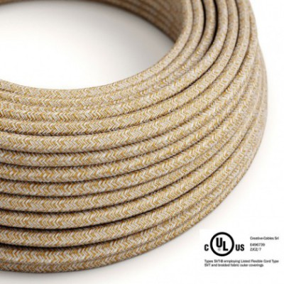 Round Electric Cable 150 ft (45,72 m) coil RS82 Glittering Russet Cotton and Natural Linen - UL listed