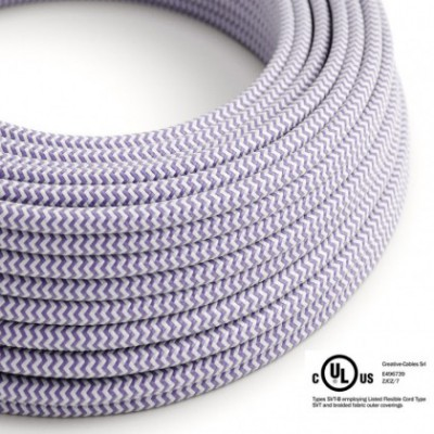 Round Electric Cable 150 ft (45,72 m) coil RZ07 ZigZag Lilac Rayon - UL listed
