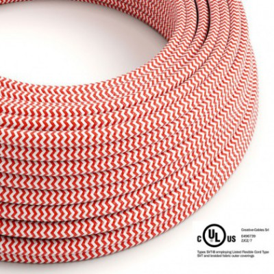 Round Electric Cable 150 ft (45,72 m) coil RZ09 ZigZag Red Rayon - UL listed