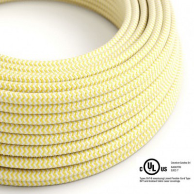 Round Electric Cable 150 ft (45,72 m) coil RZ10 ZigZag Yellow Rayon - UL listed