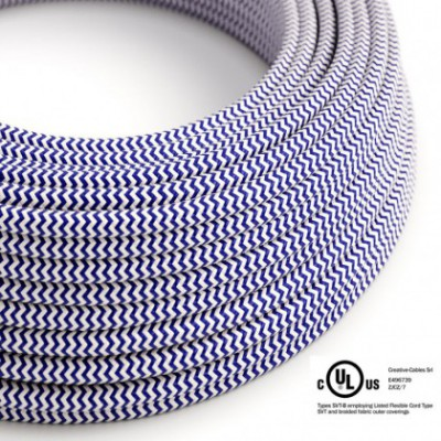 Round Electric Cable 150 ft (45,72 m) coil RZ12 ZigZag Blue Rayon - UL listed