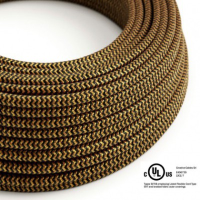 Round Electric Cable 150 ft (45,72 m) coil RZ24 ZigZag Gold and Black Rayon - UL listed