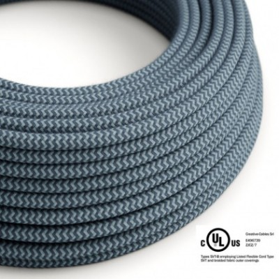 Round Electric Cable 150 ft (45,72 m) coil RZ25 ZigZag Stone Grey and Ocean Cotton - UL listed
