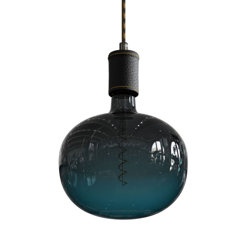 Pendant lamp with textile cable and leather details - Made in Italy