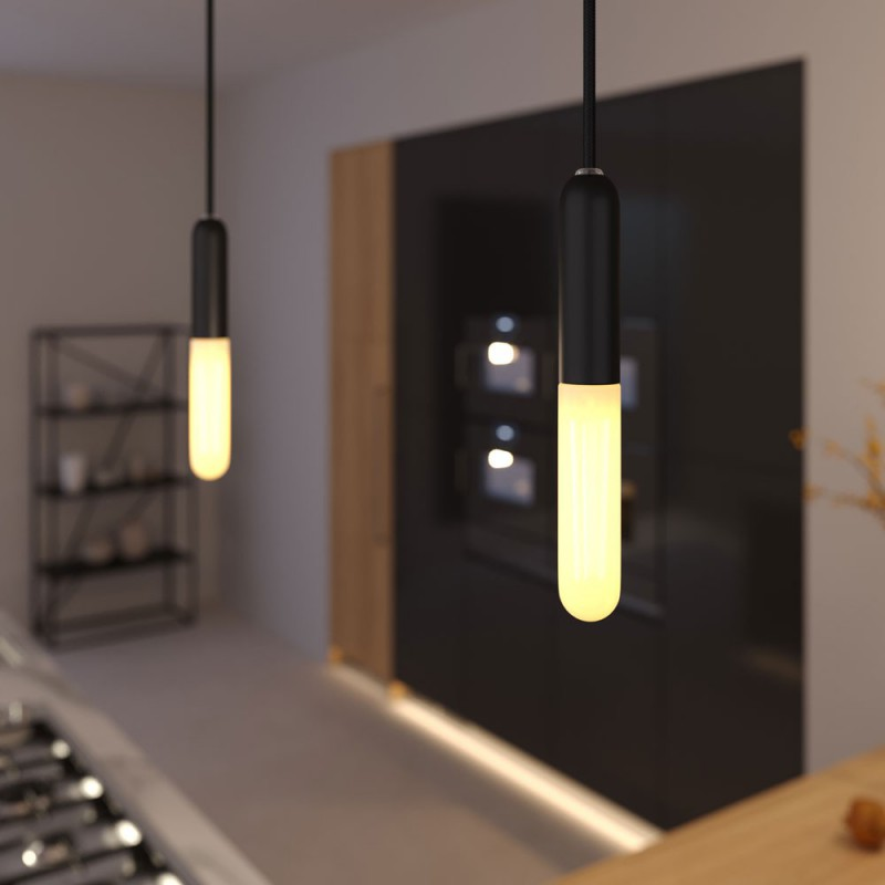 Pendant lamp with textile cable, E14 P-Light lamp holder and metal details - Made in Italy