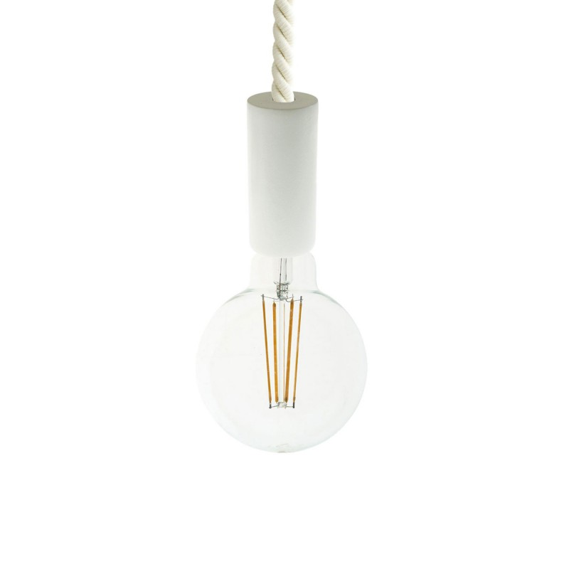 Pendant lamp with XL 16mm nautical cord painted wood details - Made in Italy