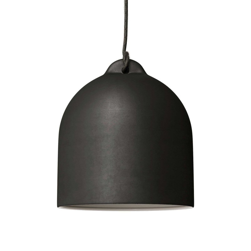 Pendant lamp with textile cable and lampshade Bell M in ceramic - Made in Italy