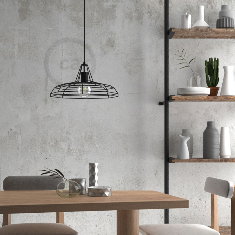 Pendant lamp with textile cable, Sonar lampshade and metal details - Made in Italy