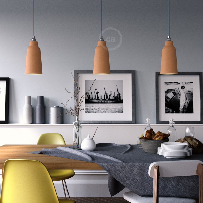 Pendant lamp with textile cable, Bottle ceramic lampshade and metal details - Made in Italy