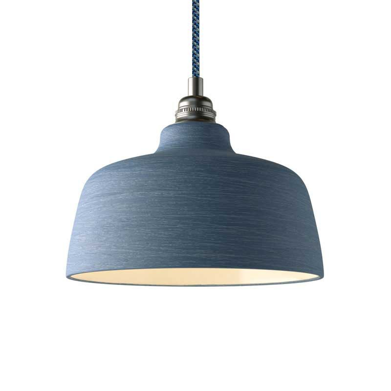 Pendant lamp with textile cable, Cup ceramic lampshade and metal details - Made in Italy