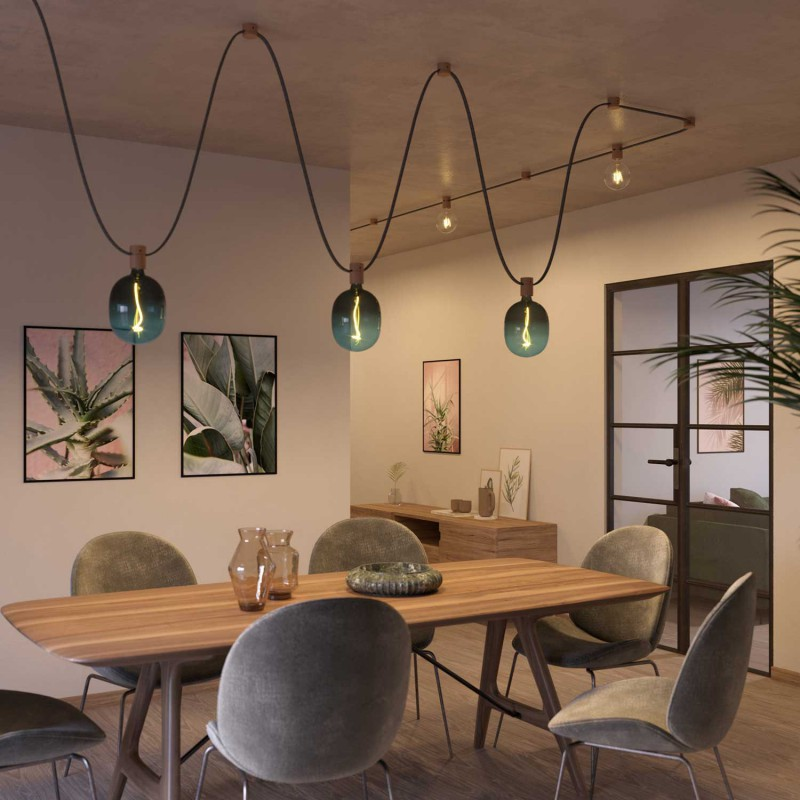 Wooden canopy for string light cable and Filé system. Made in Italy