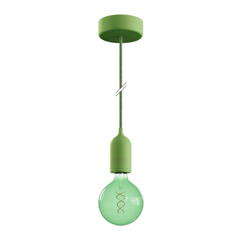 EIVA PASTEL Outdoor pendant lamp with 1,5 mt textile cable, colorful silicone ceiling rose and lamp holder IP65 water resistant