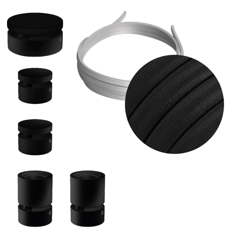 Filé System Wiggle Kit - with 3m string light cable and 5 indoor black varisched wooden components