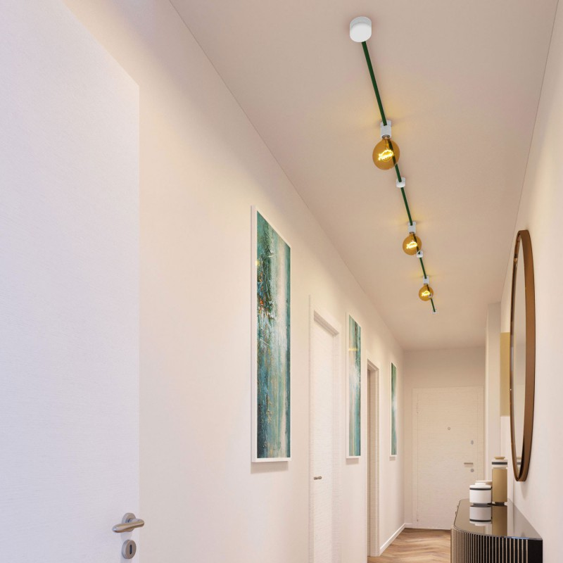 Filé System Linear Kit - with 5m string light cable and 7 indoor white varnished wooden components
