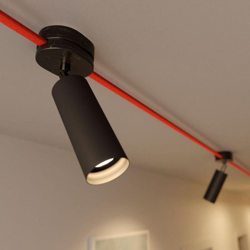 Fermaluce Filè adjustable spotlight, metal wall light with Tub-E14