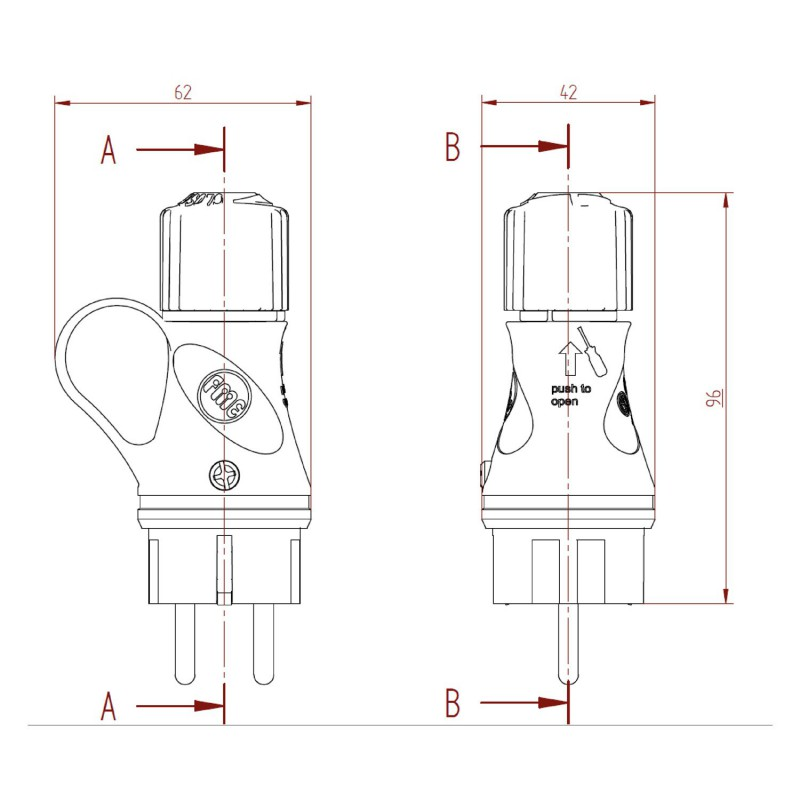 Black Schuko plug with ring 16A 250V IP44 for System EIVA