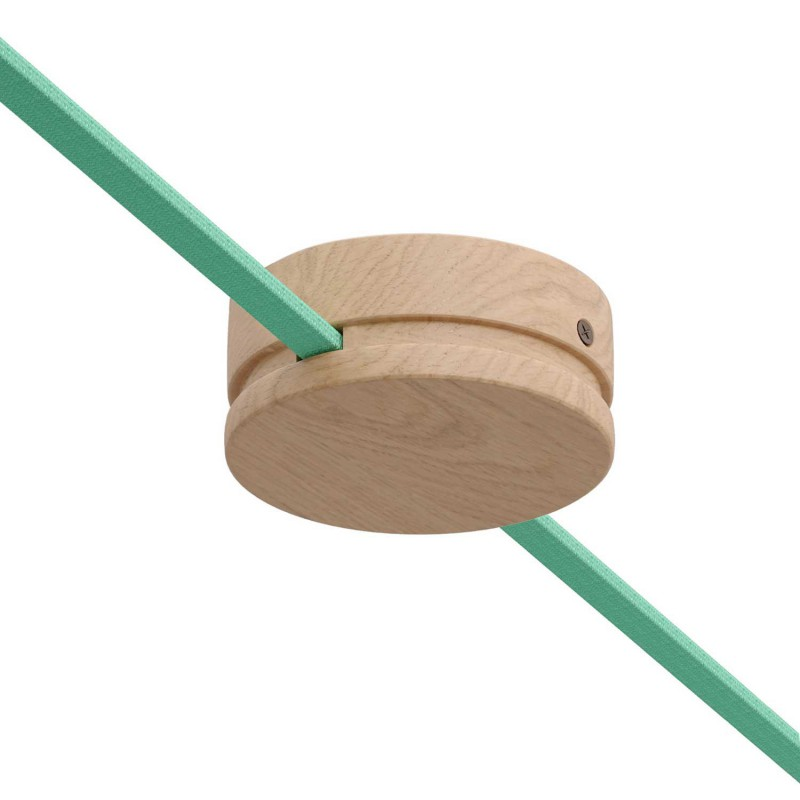 """Round Ø 125 mm (5"""") wooden canopy with 2 side holes for string light cable and Filé system. Made in Italy with US standards"""