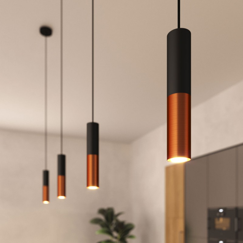 Made in Italy pendant lamp complete with fabric cable and Tub-E14 double lampshade
