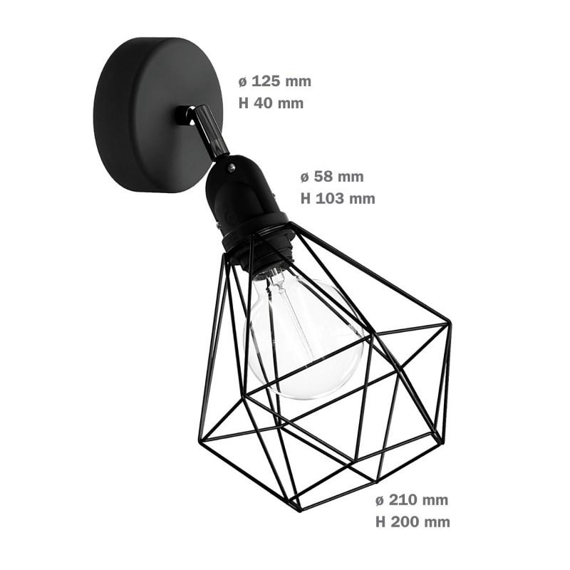 Fermaluce EIVA with Diamond lampshade, adjustable joint and lamp holder IP65 waterproof