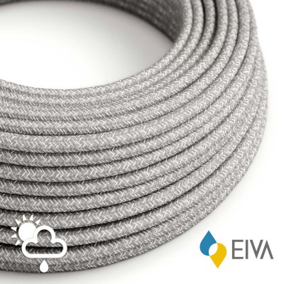 Outdoor round electric cable covered in Natural Linen SN02 Grey -suitable for IP65 EIVA system