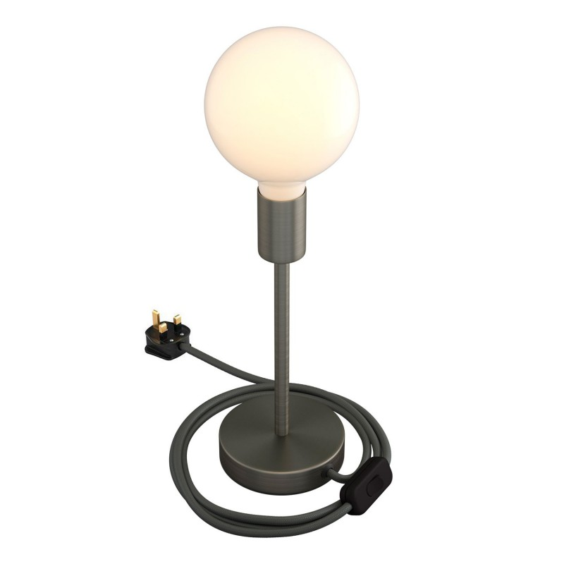 Alzaluce - metal table lamp with fabric cable, switch and UK plug