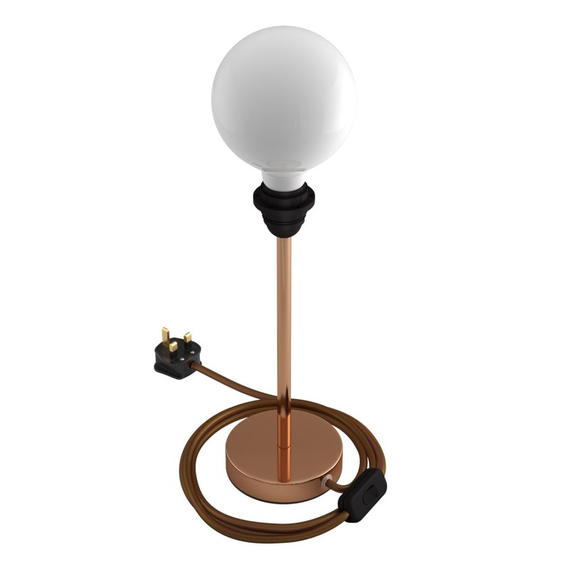 Alzaluce - metal table lamp for lampshades with fabric cable, switch and UK plug