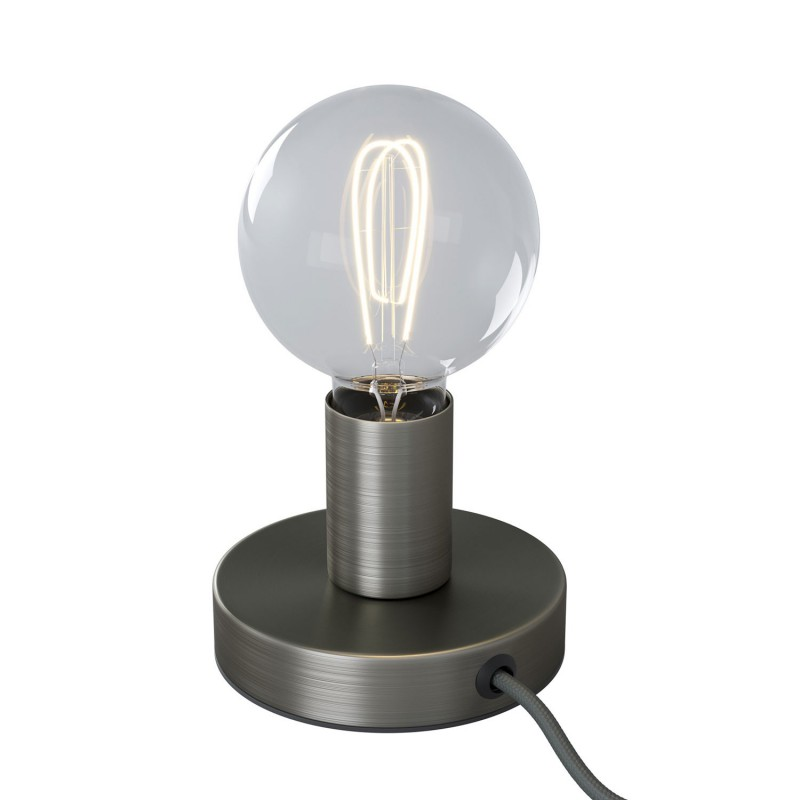 Posaluce Metal, our metal table lamp complete with fabric cable, switch and 2-pin plug