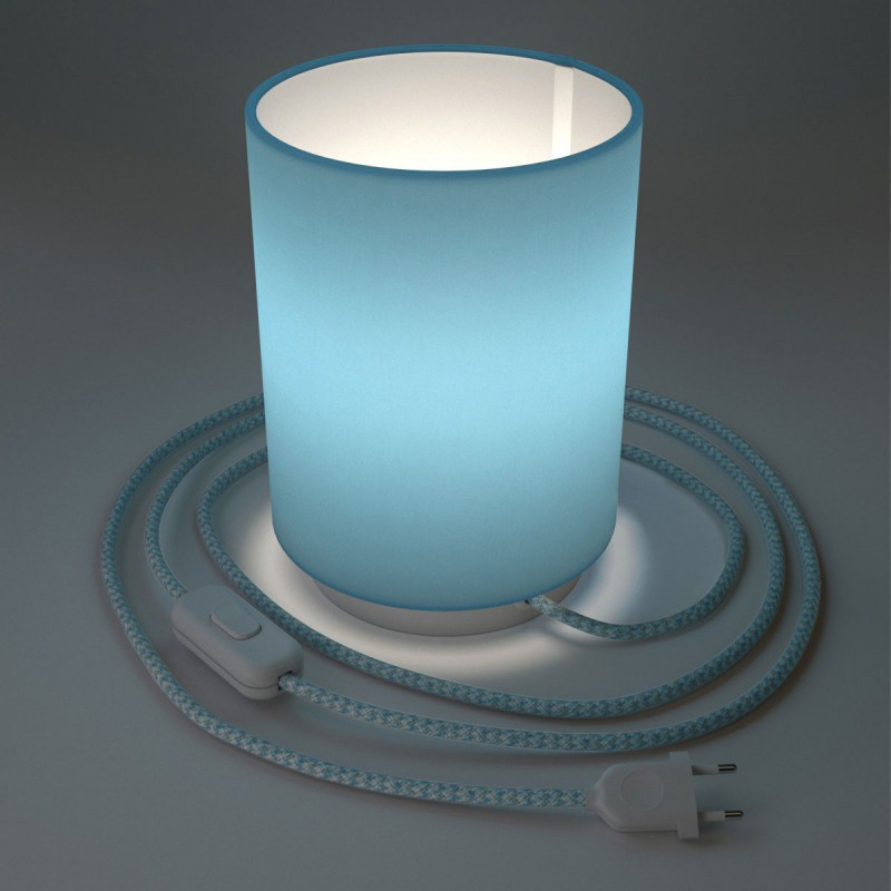 Posaluce in metal with Sky Blue Cilindro lampshade, complete with fabric cable, switch and 2-pin plug