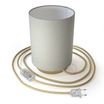 Posaluce in metal with White Lawn Cilindro lampshade, complete with fabric cable, switch and 2-pin plug