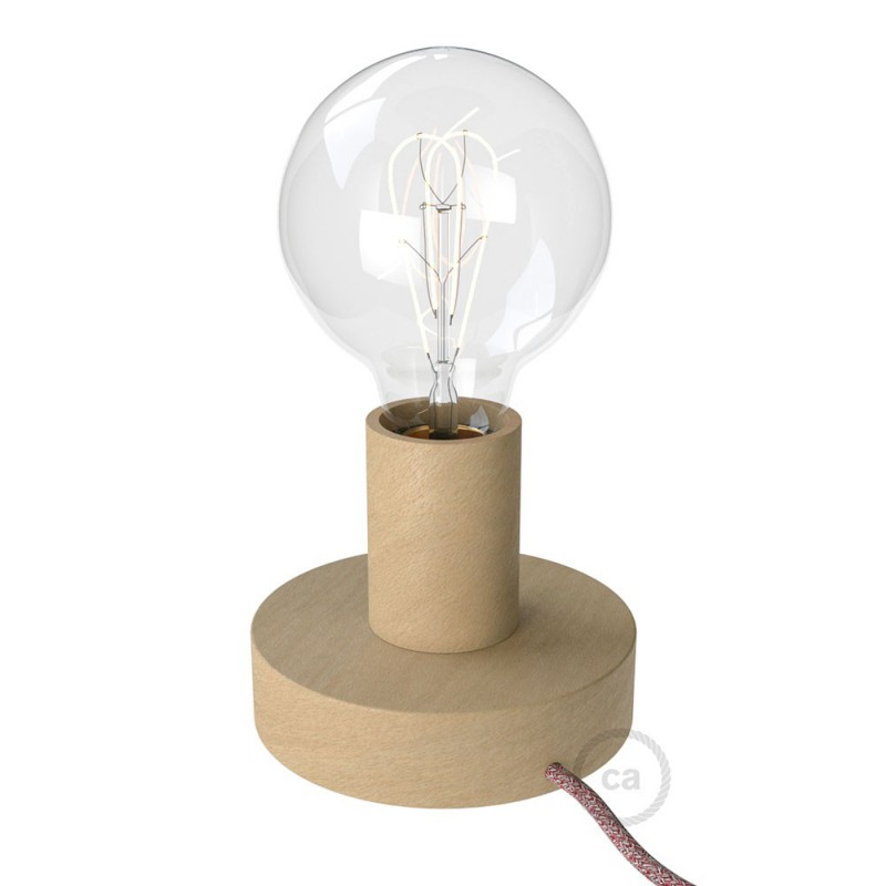 Posaluce Wood S, our table lamp in wood complete with fabric cable, switch and UK plug