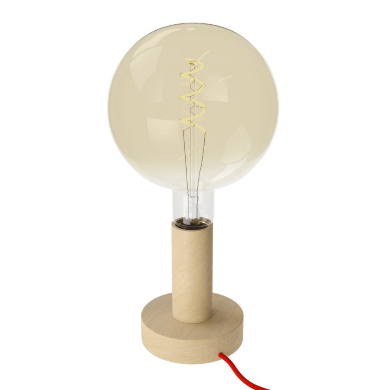 Posaluce Wood M, our table lamp in wood complete with fabric cable, switch and UK plug