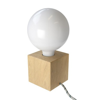 Posaluce Cubetto, our table lamp in wood complete with fabric cable, switch and UK plug