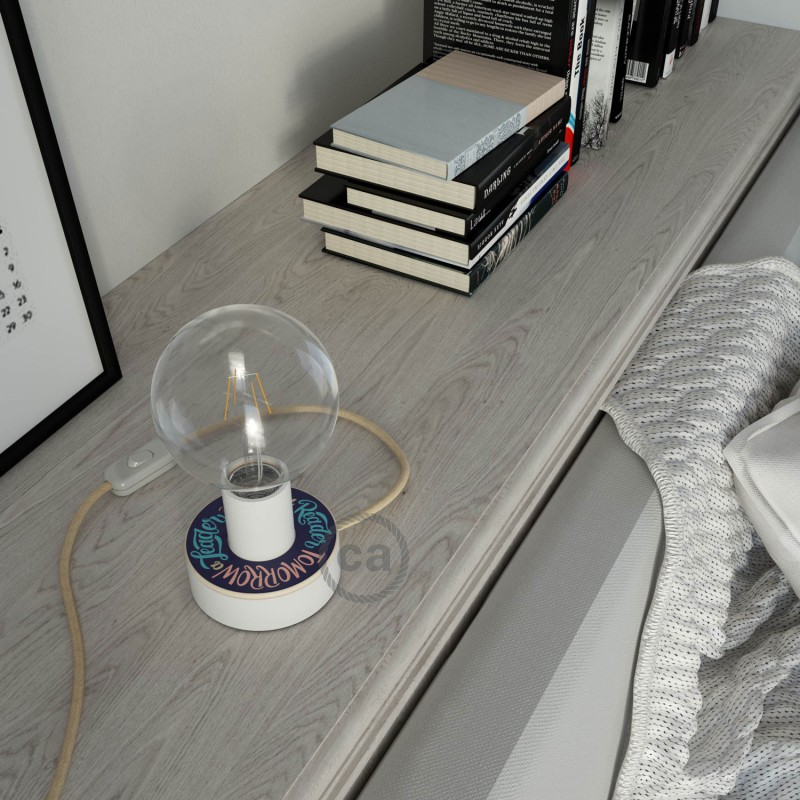 Posaluce MINI-UFO in double-sided Pemberley Pond wood, complete with fabric cable, switch and UK plug